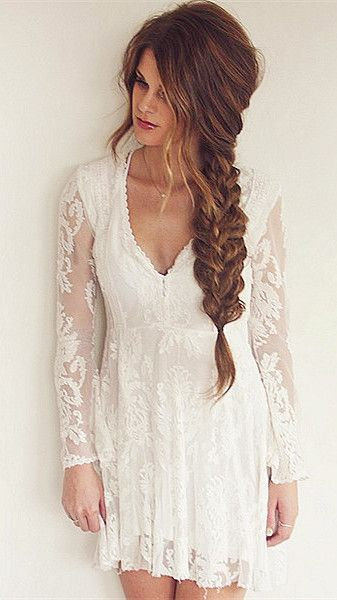 Lace Plunging Neck Long Sleeve A Line Dress
