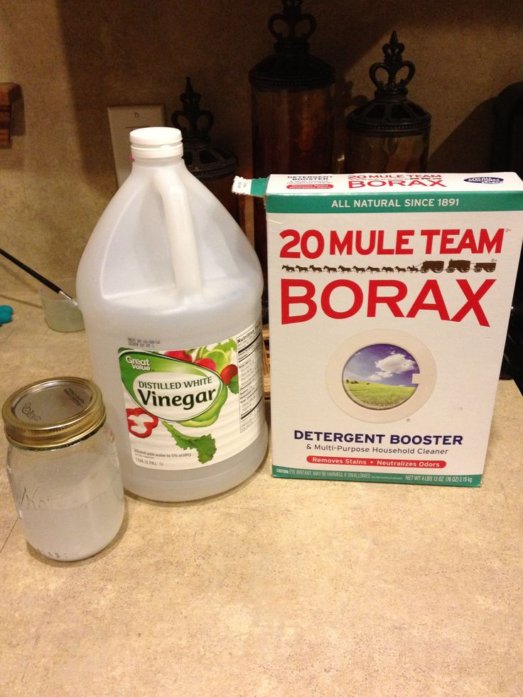 """My recipe for getting your carpets clean. 1 cup of distilled white vinegar, 2 gallons hot water, and 1/2 to 1 cup of Borax, diluted.  This got our carpets SO clean and fresh!  Never hiring a company to do it again!  I even had red marker on my carpet that the """"other guys"""" said would never come out; this got it out!  I save some in a mason jar for emergency spot cleaning."""