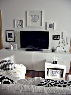Wohnwand, TV Wand Besta Ikea, Schwarz Weiß Bilderwand Wohnzimmer