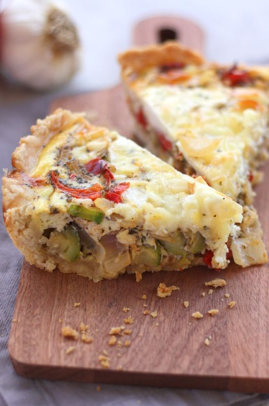 Veggie Mediterranean Quiche with Flaky, Buttery Crust   Drool-Worthy