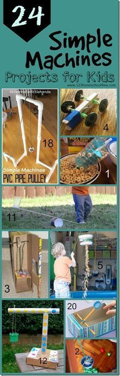 24 Simple Machines projects for kids - so many clever, fun, and unique science experiments to explore simple machines for classroom, science project, and homeschool for kindergarten, first grade, second grade, third grade, fourth grade, and fifth grade. P