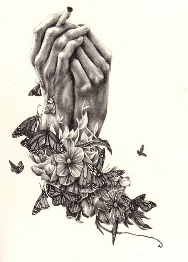 Hands and flowers sketch by kate powell 17 year old for Amazing drawings of roses