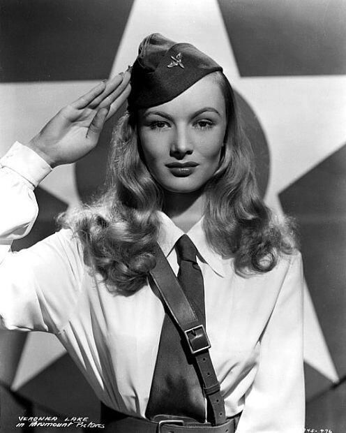 "Veronica Lake in a publicity still for ""SO PROUDLY WE HAIL"" (1943) - Veronica should have been nominated for a Best Supporting Actress Oscar for her role in this film!!!"
