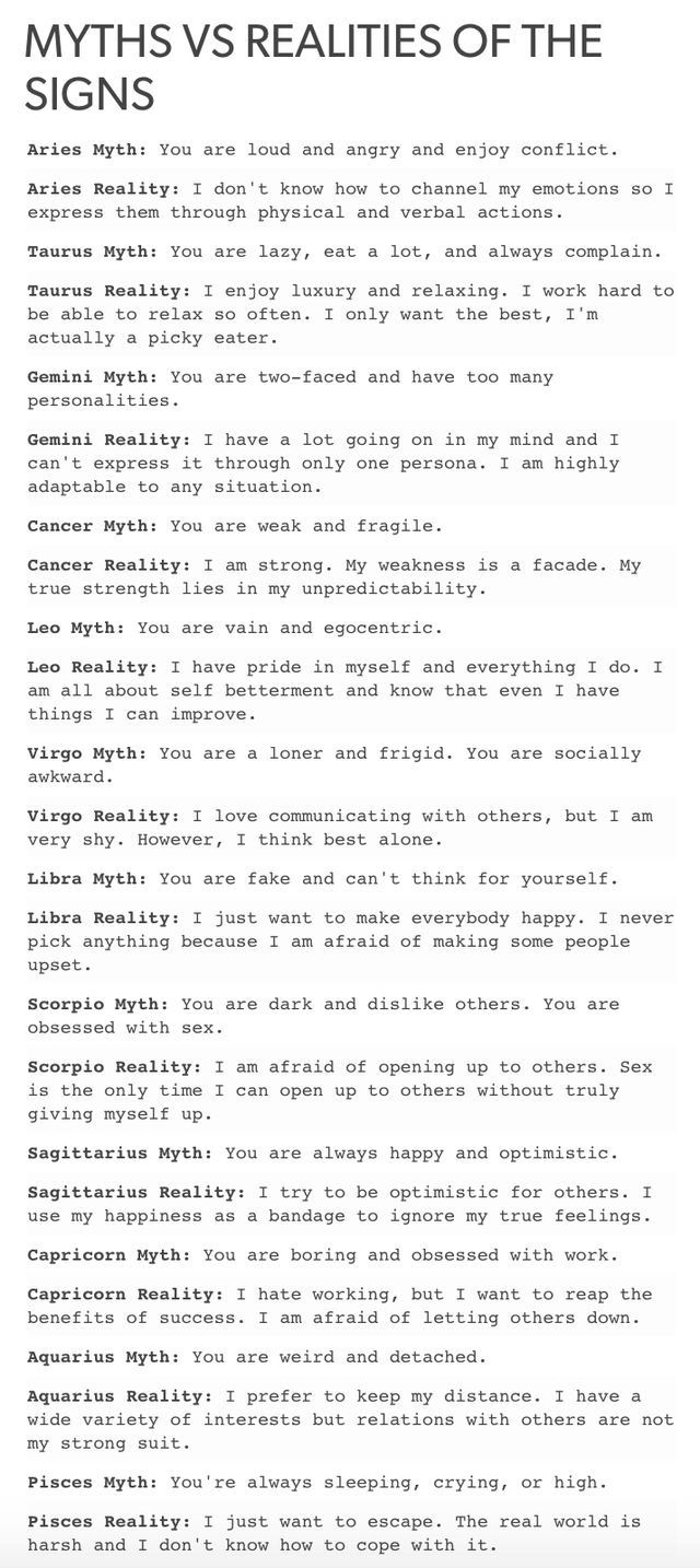 Myths vs realities of the signs