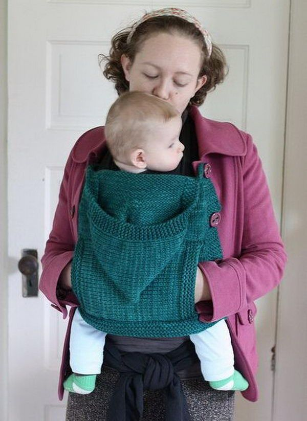 25 Cool Knitting Project Ideas - I like this idea. not only does it hold thebaby, it a hand cozy and a hoodie for baby