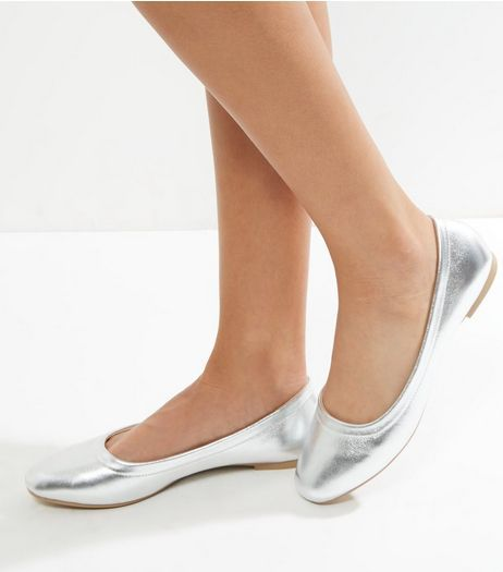 Silver Metallic Square Toe Ballet Pump | New Look