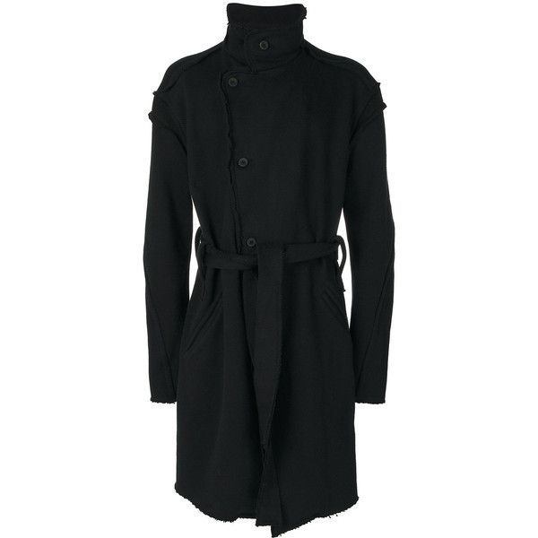 Lost & Found Ria Dunn single-breasted raw hem coat (3.185 BRL) ❤ liked on Polyvore featuring men's fashion, men's clothing, men's outerwear, men's coats, black, mens single breasted pea coat and mens fur collar coat