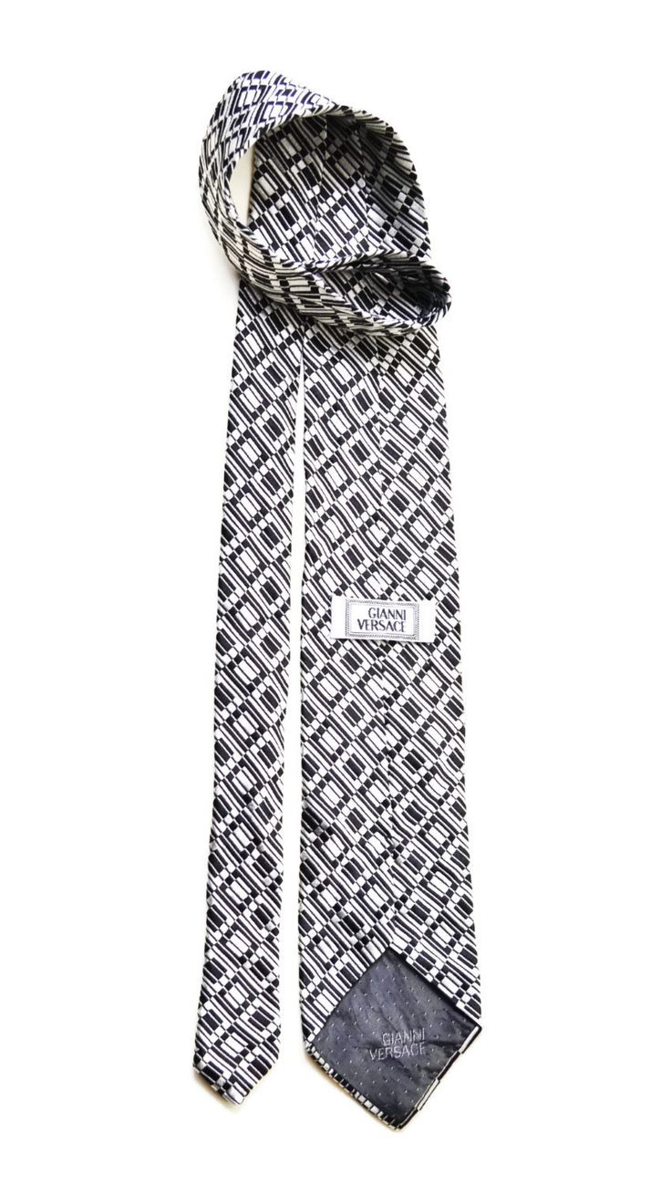 Silk Tie men's black and white tie neckties vintage Accessories for men made in italy clothing by SixVintageChicks on Etsy