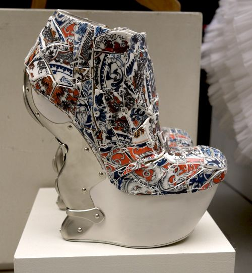 A closeup of one of the Alexander McQueen Fall 2011 mosaic platforms, were crafted out of the thoughtfully shattered and strung together porcelain shards.