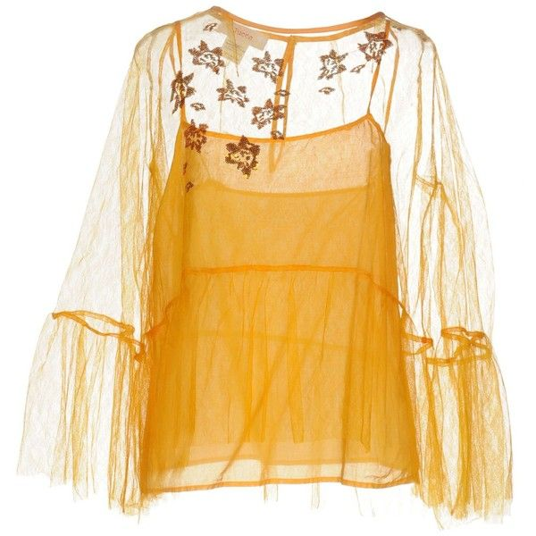 Jucca Blouse ($112) ❤ liked on Polyvore featuring tops, blouses, orange, round collar blouse, yellow top, sequin blouse, sequin embellished top and jucca