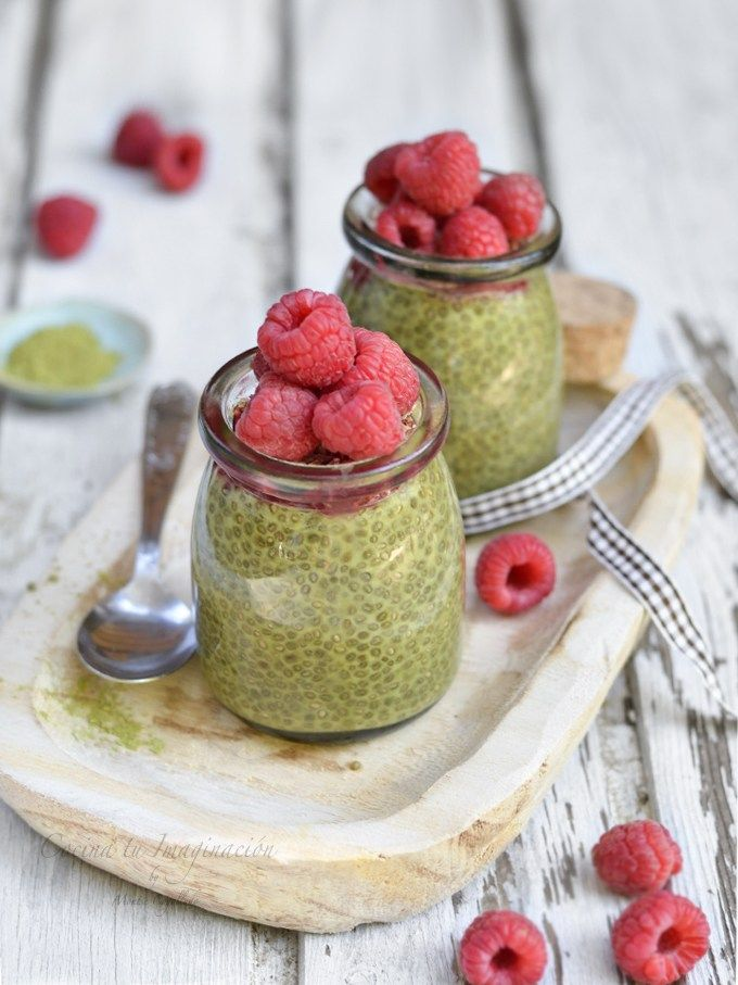 Delicioso y saludable matcha Matcha Green Tea, Chia Pudding, Seeds, Healthy Recipes, Healthy Food, Breakfast, Drinks, Biscuit Cake, Easy Recipes