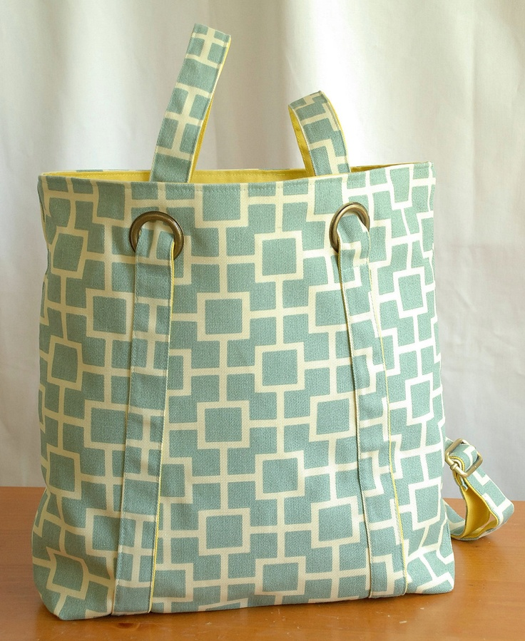Mint Green Convertible Backpack with Geometric Design. $48.00, via Etsy.  - Could be fun to figure out how to make this, it looks somewhat easy...