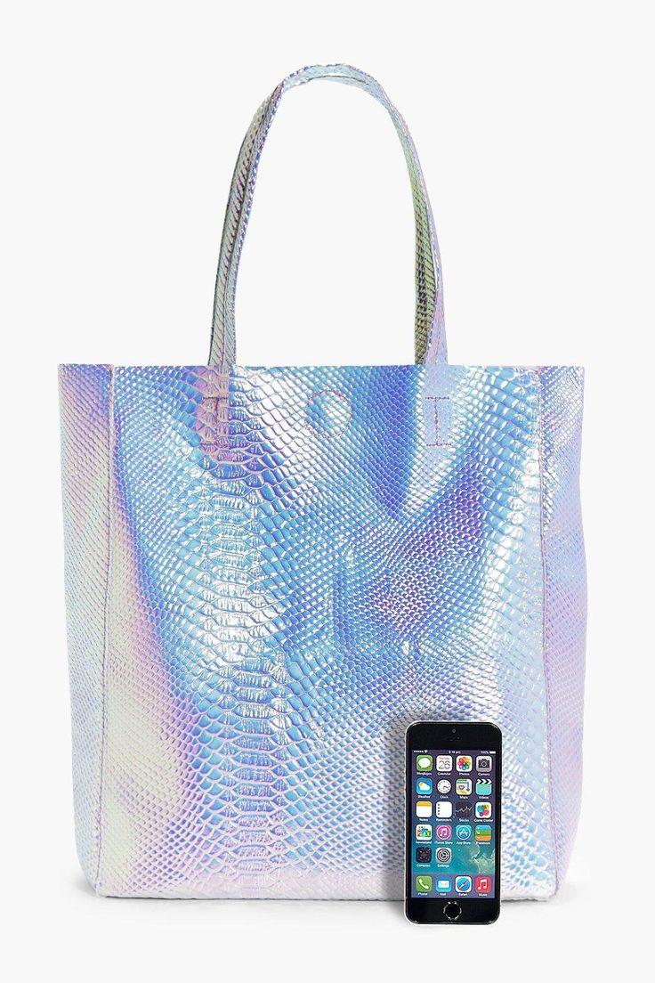 Mermaid Holographic Shopper Beach Bag boohoo
