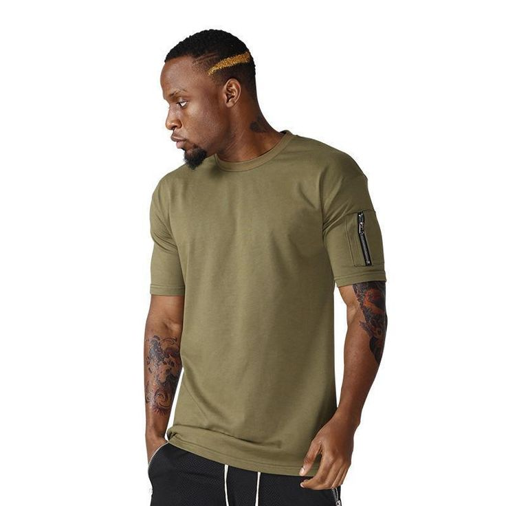 Men's New hip hop Zipper On Sleeve T-Shirts