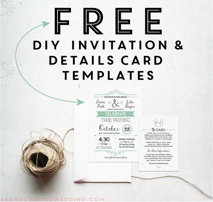 Download these FREE printable mint wedding invitation and details card templates! #wedding #printables ahandcraftedwedding.com