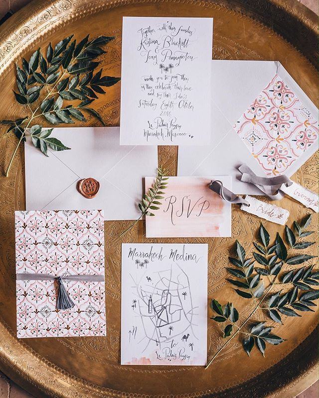 Moroccan inspired wedding invitations by Wolf & Rosie