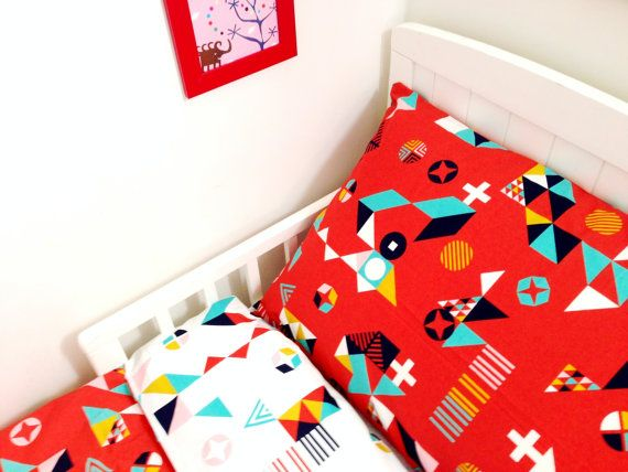 Simply Red 100% organic cotton Duvet and Pillow Set on Etsy, $120.00 AUD