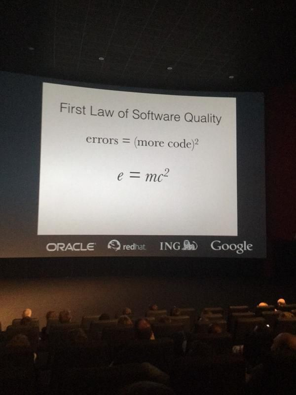 First law of software quality: errors = (more code)^2, or e=mc^2   Programmer Equation:)   #customsoftwaredevelopment #softwaredevelopment #softwaredevelopmentcompany #‎NoeticSystems‬ ‪#‎Pune‬ #softwarequality