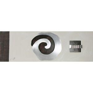Cuadro espiral metalica Blanco roto y Ceniza