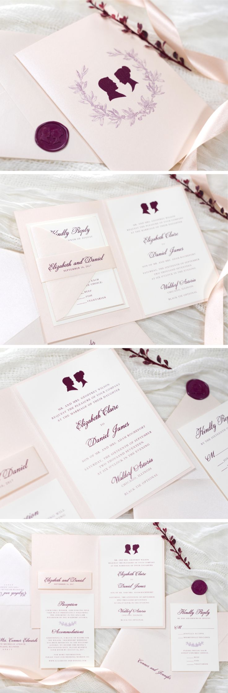 Folding Blush Burgundy and Opal Shimmer Wedding