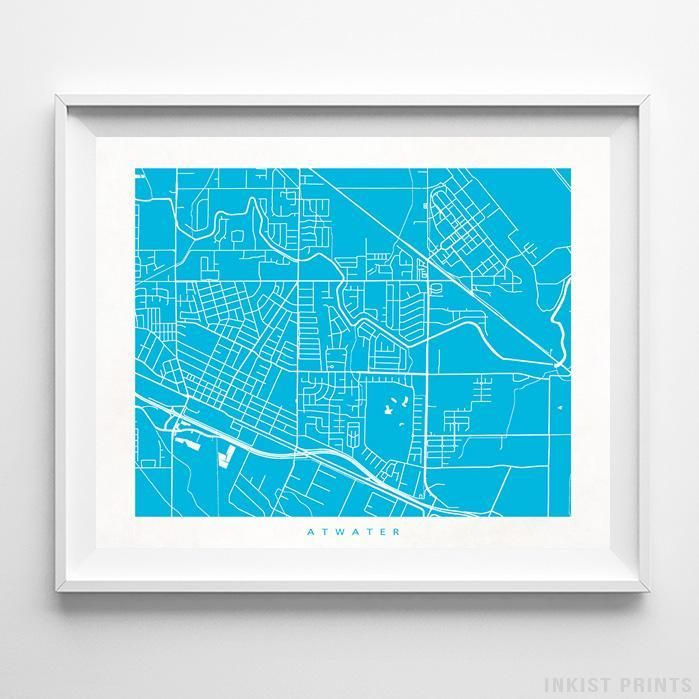 Atwater, California Street Map Print