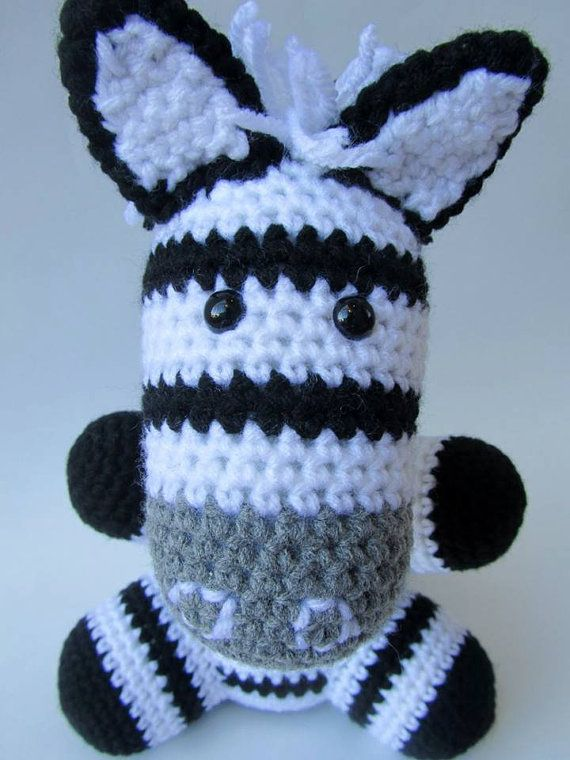 Crocheted Zebra Plush Amigurumi Toy Stuffed by TheSimplyHooked