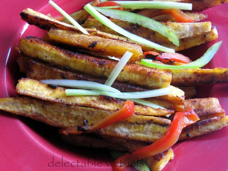 Pan-fried Plantain Wedges and Plantain Chips vazhakkai podimaas vazha poduthuval