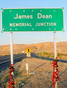 "Site of James Dean's death (Sept. 30, 1955)  James Dean spent his entire paycheck from East of Eden to buy the equally legendary Porsche 550  'Spyder"" in which he lost his life driving to a sports car race at the Salinas Airport, in California's Central Valley west of Bakersfield."