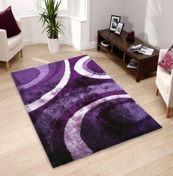 Floral Purple Indoor Bedroom Shag Area Rug