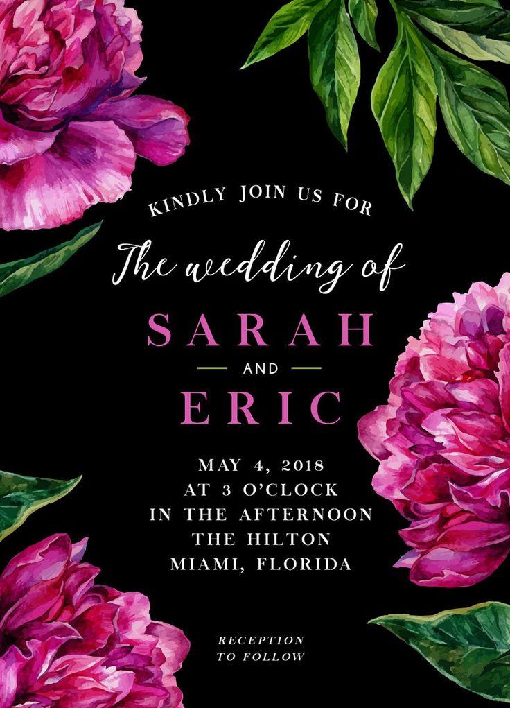 Черный фон и розовые цветы — приглашений на свадьбу