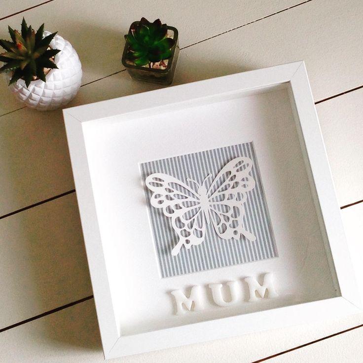 3D butterfly framed personalised gift for mum mom girl female friend Nana grandma