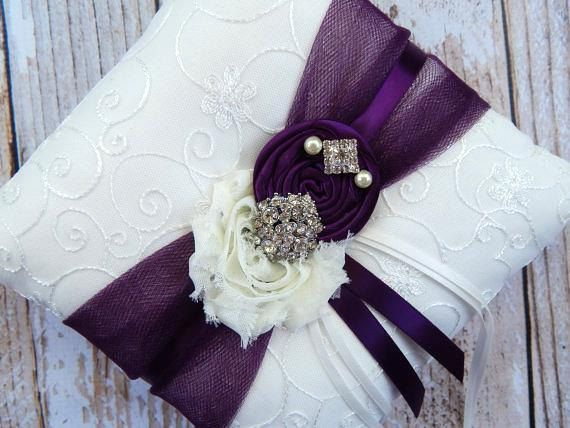 Ring Bearer Pillow  / Plum Ring Bearer by CutieButtsBoutique, $29.99