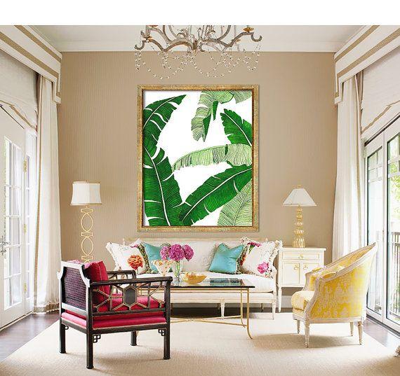 Banana Leaf Poster druckbare Datei BG2  Palm Kunst Satz von Dantell