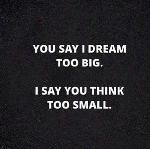 """You say I dream too big. I say you think too small."""
