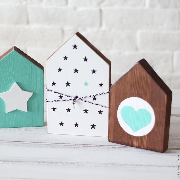 Купить Сет из 3х сканди-домиков - мятный, звездочка, звезда, сердце, сердечко, интерьерное украшение