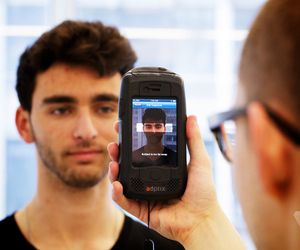 We know who you are: the scary new technology of iris scanners.  The technology of Minority Report is closer than you think