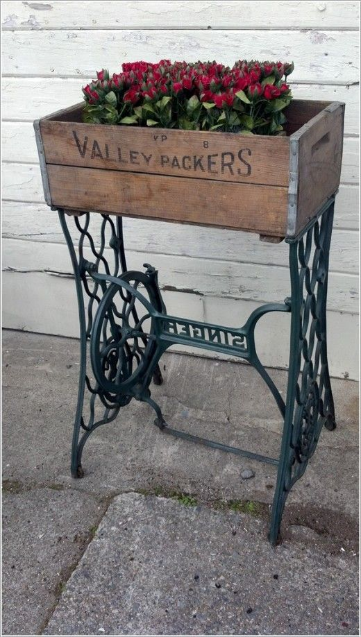 Flower Box-Ideas to Decorate with Old Sewing Machine Stands