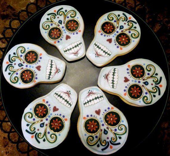 dia de los muertos day of the dead cookies halloween half dozen by baked on etsy - Mexican Halloween Skulls