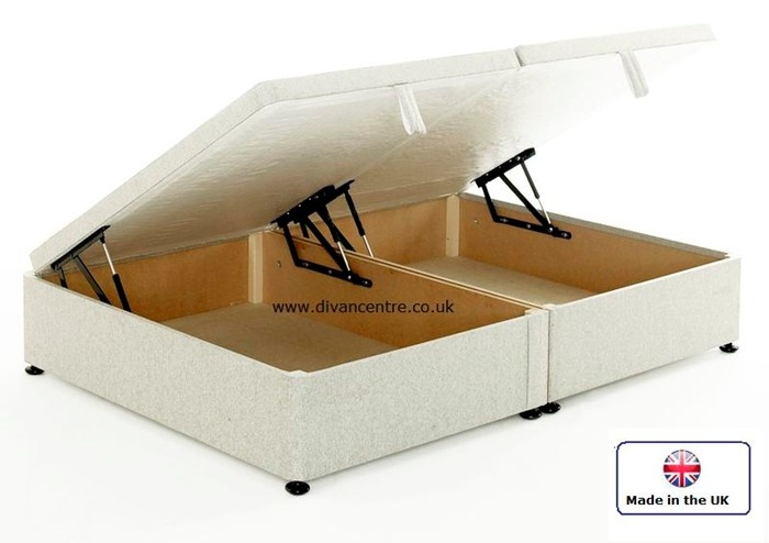 Regent 5ft Kingsize Ottoman Storage Divan Bed Base Only in White Cotton Fabric £319.95