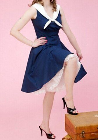 Vintage Sailor Collar Sleeveless Solid Color Dress For Women
