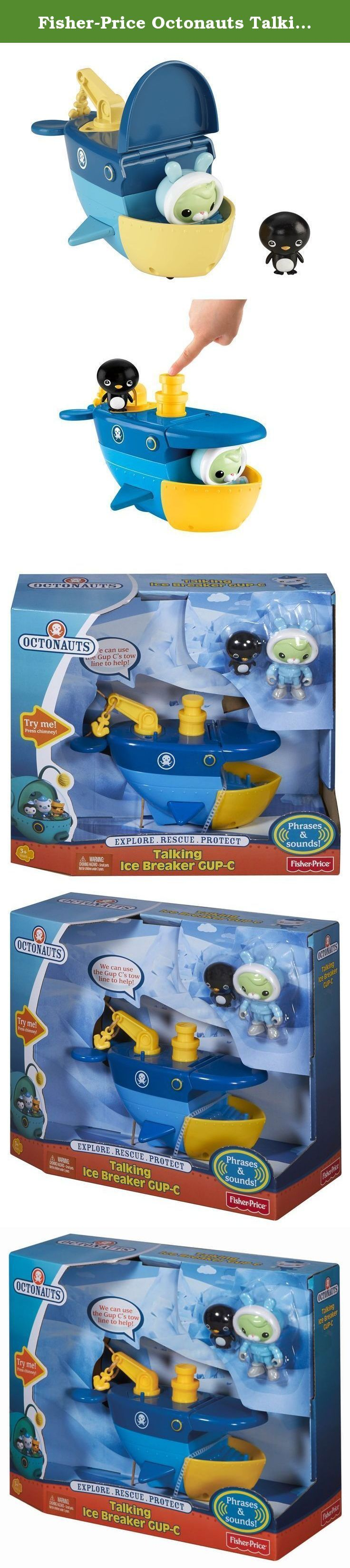 "Fisher-Price Octonauts Talking Ice Breaker Gup-C. Strong enough to transport heavy objects easily and outfitted in its ice-breaker mode, the Gap-C is the Octonauts' ideal vehicle for any arctic adventure! Press down on the Gup's chimney to activate action sounds and to hear phrases from Tweak and Barnacles! Includes Tweak in her snowsuit and an Adeline penguin to rescue! Requires 3 ""AG13"" (LR44) Button Cell batteries. Not intended for water play."
