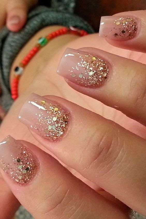 Nude nails with gold glitter - LadyStyle