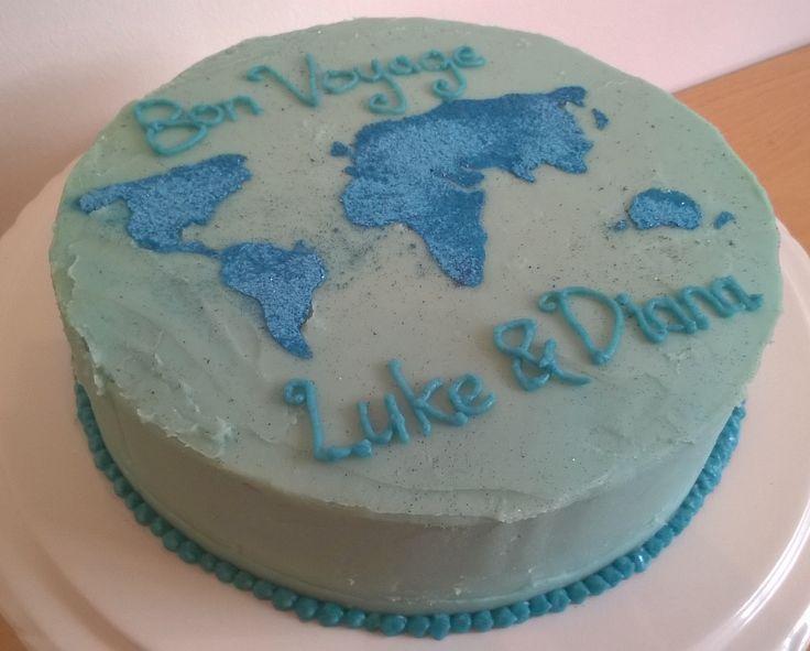 'Bon Voyage' world map cake