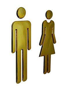 Amazon.com: Black Menba® 7.8 Inch Adhesive Acrylic Toilet Symbol Men's and Women's Bathroon Sign(Gold): Home & Kitchen