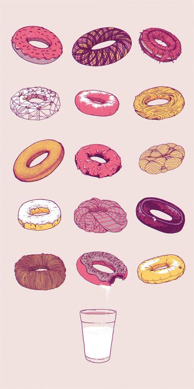 various donuts and milk