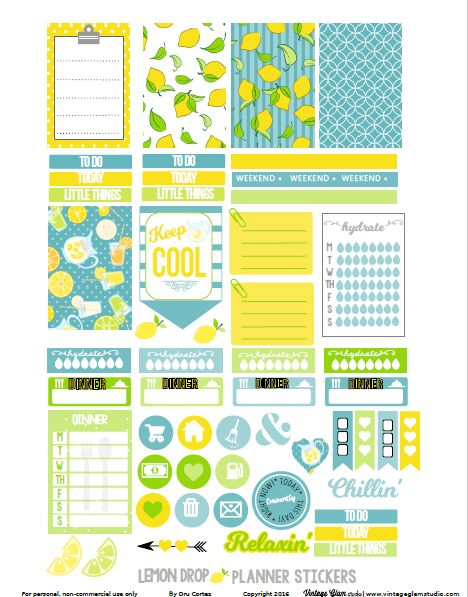 Downloaded KB!! Free Lemon Drop Planner Stickers {page 2} from Vintage Glam Studio