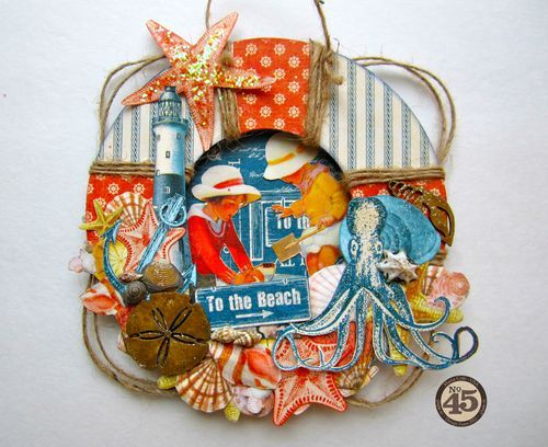 Maria cleverly uses twine on this great altered By the Sea lifesaver #graphic45