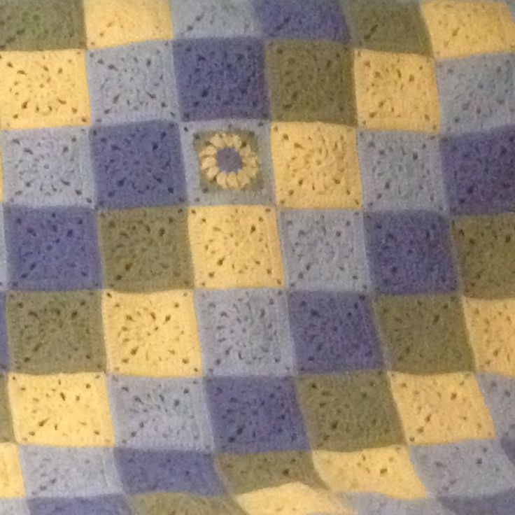 Japanese square afghan - Was supposed to be center square but did not have enough green to make one more square so used this one instead.