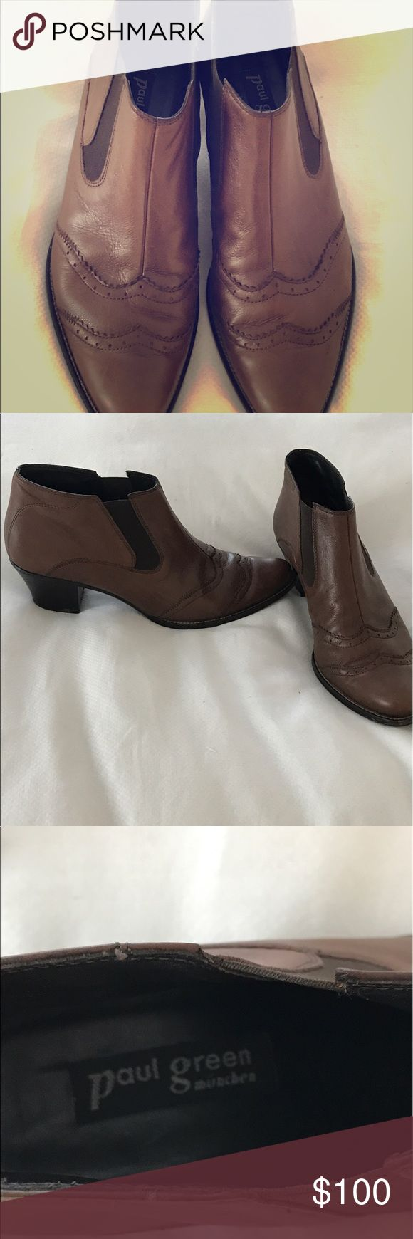 Paul Green booties, size 4 1/2 (= size 7) Paul Green size 7 booties. Extremely comfortable. Lovely rich brown color. Paul Green Shoes Ankle Boots & Booties