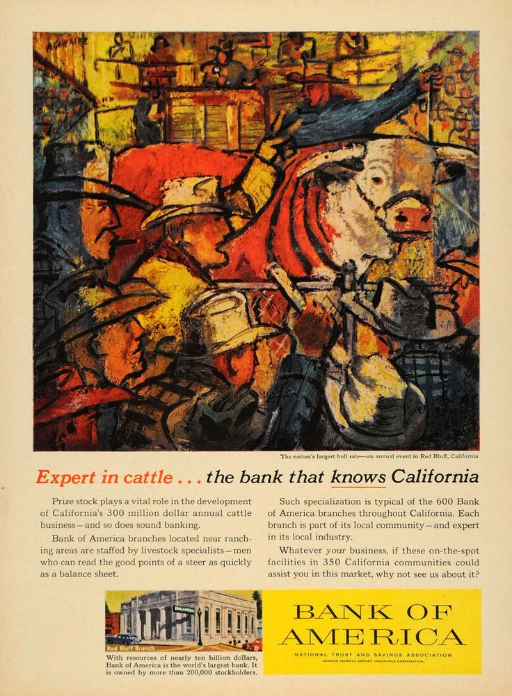 California Map Hwy 99%0A      Ad Bank America Cattle Red Bluff California Cows  ORIGINAL  ADVERTISING TM